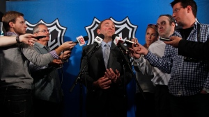 NHL commissioner Gary Bettman speaks to reporters after meeting with the NHL Players' Association representatives during a news conference at NHL headquarters, in New York, Wednesday, Sept. 12, 2012. (AP / Mary Altaffer)