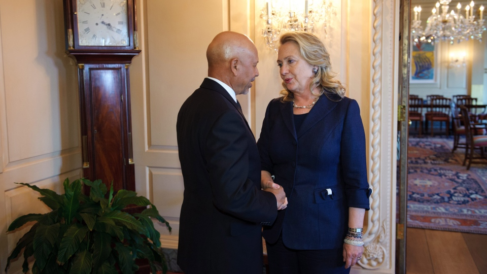 Secretary of State Hillary Rodham Clinton meets with Libyan Ambassador to the US Ali Suleiman Aujali, Wednesday, Sept. 12, 2012, at the State Department in Washington. (AP / Mandel Ngan, Pool)