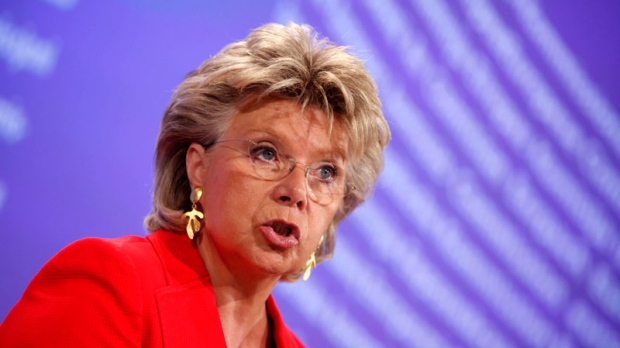 European Commissioner Vice President and Commissioner for Justice Viviane Reding speaks during a media conference at EU headquarters in Brussels, Tuesday, Sept. 14, 2010. (AP / Virginia Mayo)