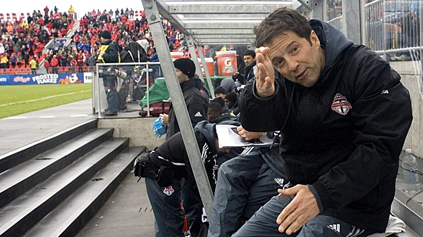 Toronto FC's head coach Predrag (Preki) Radosavljevic gestures as he sits on the bench ahead of his team's MLS match against Chicago Fire in Toronto on Saturday, May 8, 2010.(THE CANADIAN PRESS/Chris Young)