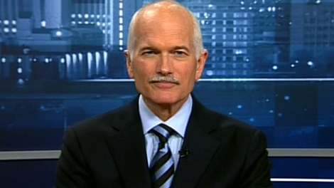 NDP Leader Jack Layton appears on Power Play from CTV studios in Regina, Tuesday, Sept. 14, 2010.