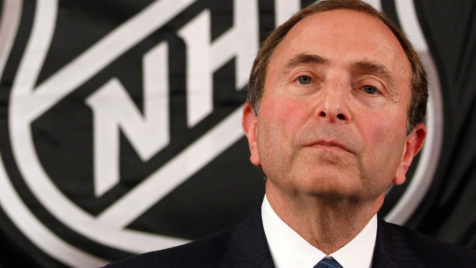 NHL commissioner Gary Bettman listens as he meets with reporters after a meeting with team owners, Thursday, Sept. 13, 2012 in New York.  (AP Phot/Mary Altaffer)