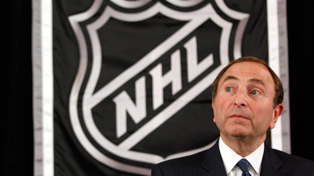 NHL commissioner Gary Bettman speaks to reporters after meeting with team owners, Thursday, Sept. 13, 2012 in New York. (AP Photo/Mary Altaffer)