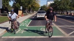 Edmonton's first 'bike box' was unveiled Thursday at 116 Street and 87 Avenue. Bike boxes are meant to help cyclists become more visible at the intersection.