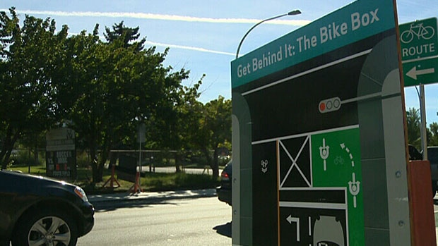 A bike box sign at 116 Street and 87 Avenue. The intersection is home to Edmonton's first bike box.