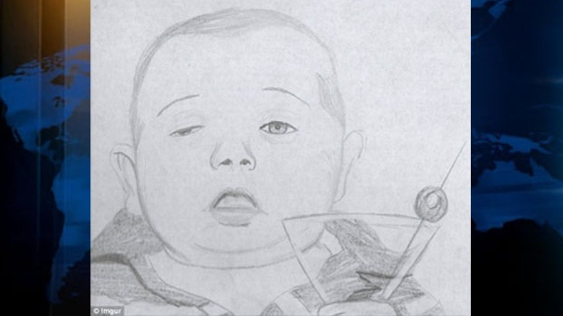 "One Reddit user drew a picture of the ""drunk baby"" with a martini glass and posted it online. Sept. 14, 2012. (imgur)"
