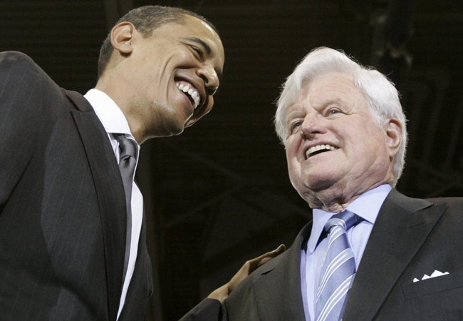 U.S. Sen. Barack Obama smiles with U.S. Sen. Ted Kennedy during a rally at American University in Washington on Monday, Jan. 28, 2008. (AP / Charles Rex Arbogast)