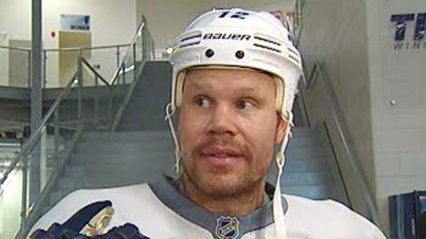 Olli Jokinen speaks to the media Friday about the possibility of a lockout.
