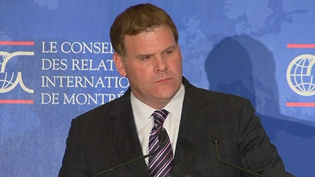 Foreign Affairs Minister John Baird speaks to reporters in Montreal, Friday, Sept. 14, 2012.