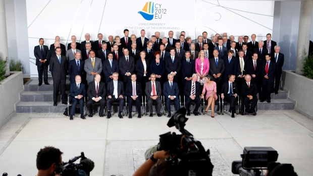 EU financial ministers pose for the group photo