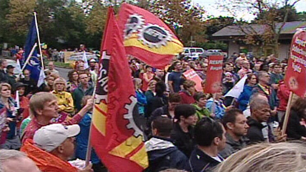 Hundreds of teachers and students staged a protest at the Ottawa office of Ontario Premier Dalton McGuinty Friday.