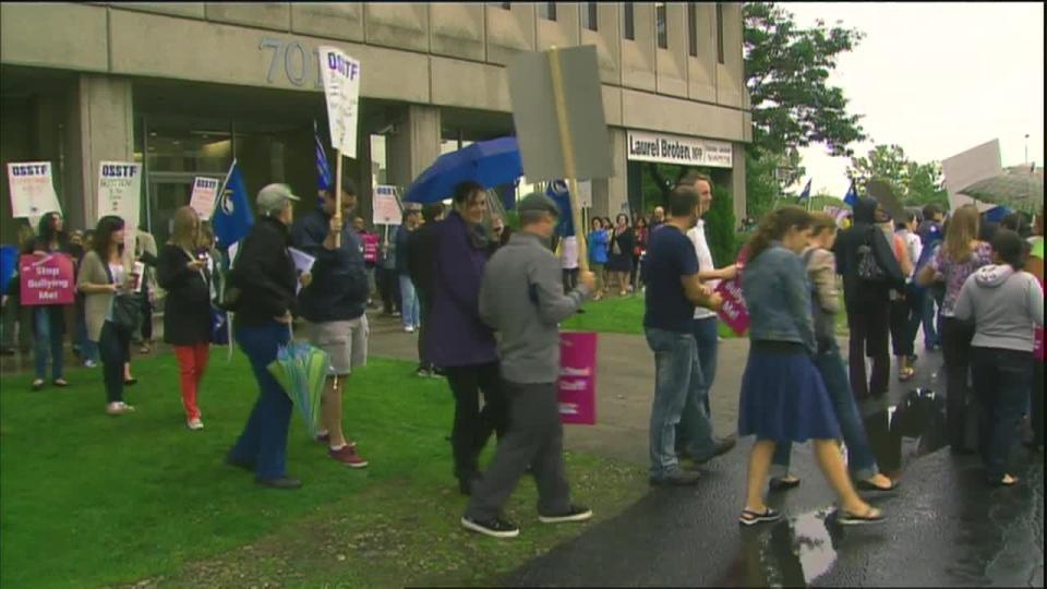 Teachers protest outside Education Minister Laurel Broten's office on Friday, Sept. 14, 2012.