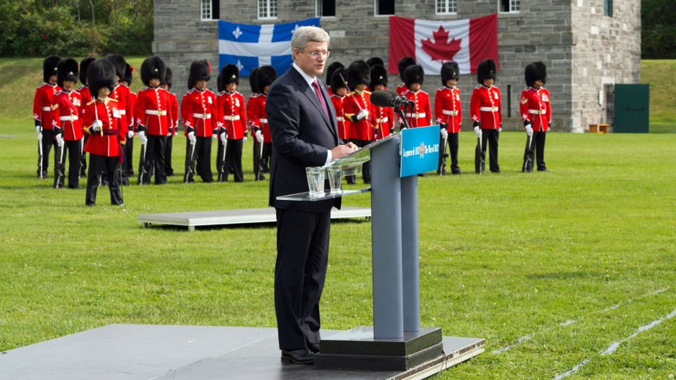 Prime Minister Stephen Harper speaks at Fort Lennox Friday, September 14, 2012 in Saint-Paul-de-L'ile-aux-Nois, Que. Harper commemorated the war of 1812. (Ryan Remiorz/THE CANADIAN PRESS)