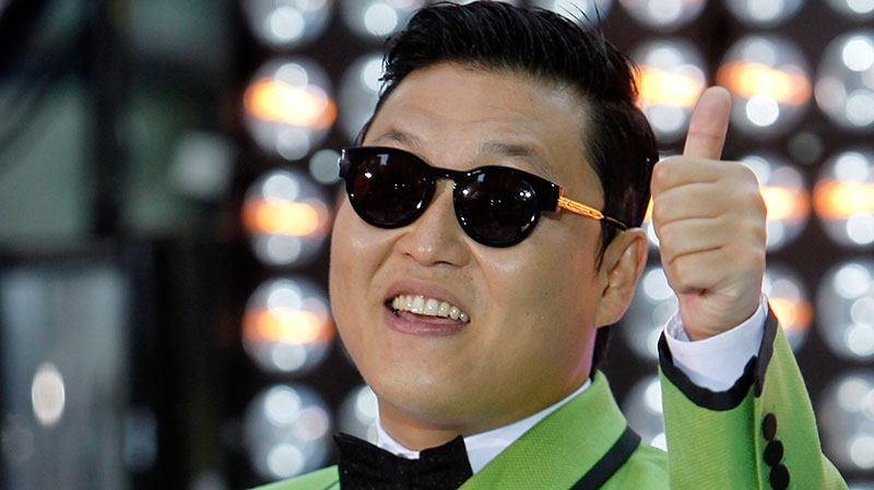 South Korean rapper Psy is interviewed before performing his massive K-pop hit
