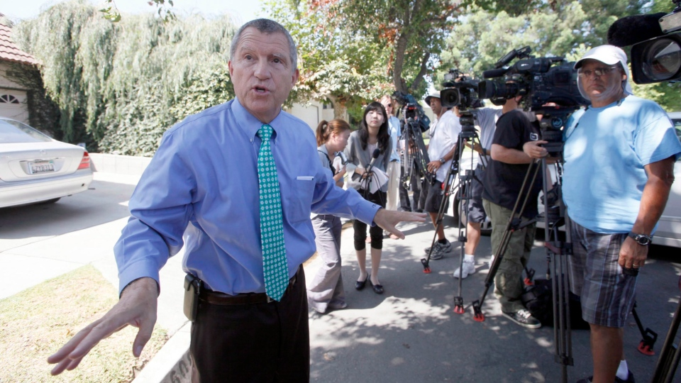 Los Angeles Sheriff's Department spokesman Steve Whitmore speaks to media outside the home of Nakoula Basseley Nakoula Thursday Sept. 13, 2012 in Cerritos, Calif. (AP / Nick Ut)