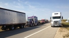 Trucks converge on the Perimeter Highway to raise money for Special Olympics Manitoba in 2012.
