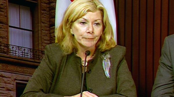 Cheri DiNovo, NDP MPP for Parkdale-High Park, speaks during a press conference at Queen's Park in Toronto, Thursday, Sept. 16, 2010.