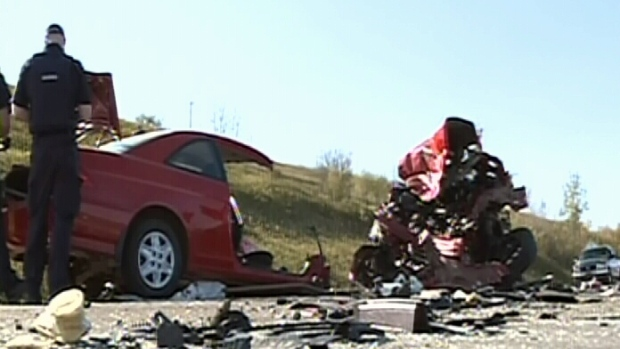 A damaged car is seen following a multi-vehicle collision that killed four people in Saskatoon, Satu