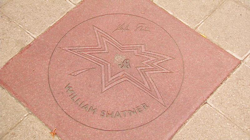 Actor William Shatner's plaque on Canada's Walk of Fame in Toronto is seen on Thursday, Sept. 16, 2010.