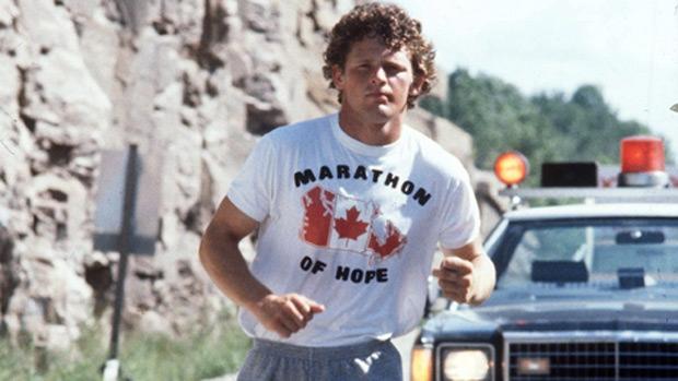 Terry Fox running in his Marathon of Hope.