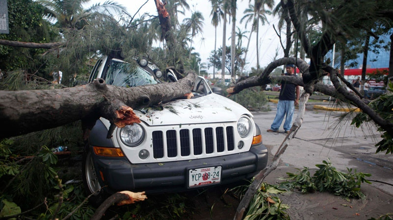 A man stands next to a vehicle damaged by a fallen tree due to the passage of Hurricane Karl in Veracruz, Mexico, Friday, Sept. 17, 2010.  (AP / Alexandre Meneghini)
