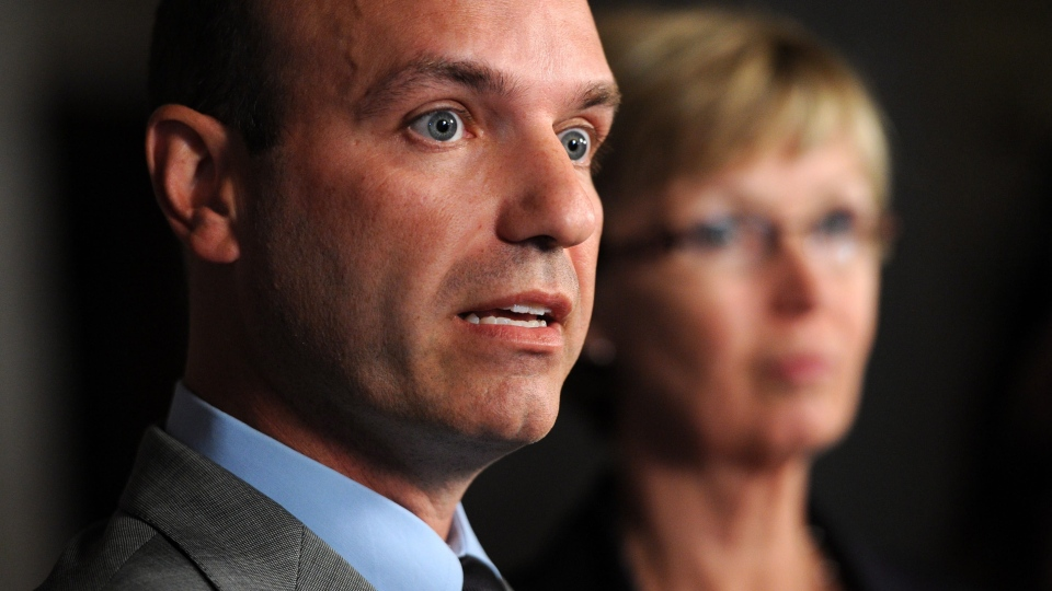 Official Opposition House Leader Nathan Cullen and Chief Opposition Whip Nycole Turmel hold a press conference on Parliament Hill in Ottawa on Monday, Sept. 17, 2012. (Sean Kilpatrick / THE CANADIAN PRESS)