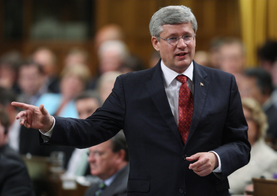 Prime Minister Stephen Harper rises during question period in the House of Commons in Ottawa, on Monday Sept.17, 2012. (Adrian Wyld / THE CANADIAN PRESS)