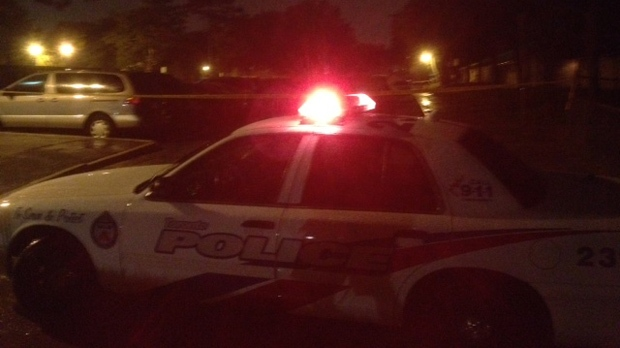 A police car is pictured at the scene of a shooting on Jamestown Crescent in Toronto early Tuesday, Sept. 18, 2012. (CP24/Cam Woolley)