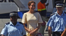 The Duchess of Cambridge, centre, at the airport in Honiara, Solomon Islands on Sept. 18, 2012.