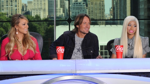 From left, Mariah Carey, Keith Urban and Nicki Minaj in New York on Sept. 17, 2012.