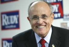 Republican presidential hopeful, former New York City mayor Rudy Giuliani, visits his campaign headquarters in Winter Park, Fla., Tuesday, Jan. 29, 2008. (AP / Gerald Herbert)