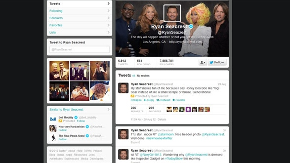 TV Personality Ryan Seacrest's profile page appears in this image taken from Twitter on Sept. 18.