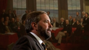 NDP leader Tom Mulcair speaks to party caucus members on Parliament Hill in Ottawa, on Wednesday September 19, 2012. (THE CANADIAN PRESS/Adrian Wyld)