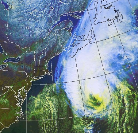 Hurricane Igor moves north towards the Newfoundland coast as seen in this enhanced Environment Canada satellite image, taken at 1:45 p.m. ET, Monday, Sept. 20, 2010