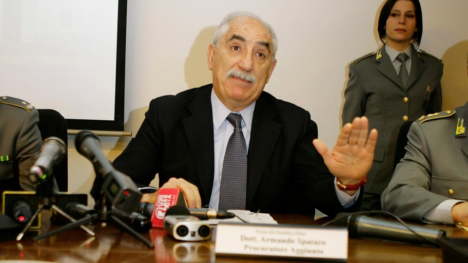 Milan-based anti-terrorism prosecutor Armando Spataro gestures during a press conference in Milan, Italy on Wednesday, March 3, 2010.  (AP /Alberto Pellaschiar)