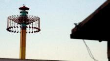 People stuck on amusement park ride
