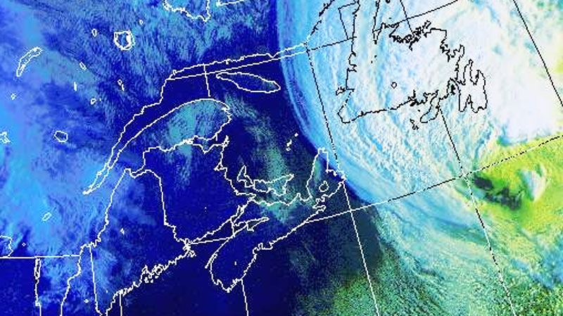Hurricane Igor moves west towards the Newfoundland coast as seen in this enhanced Environment Canada satellite image, taken at 8 a.m. ET, Tuesday, Sept. 21, 2010.