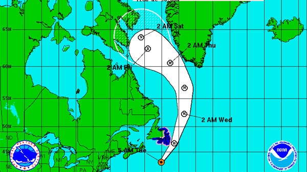 Hurricane Igor's five-day path is seen in this NOAA graphic on Tuesday, Sept. 21, 2010.