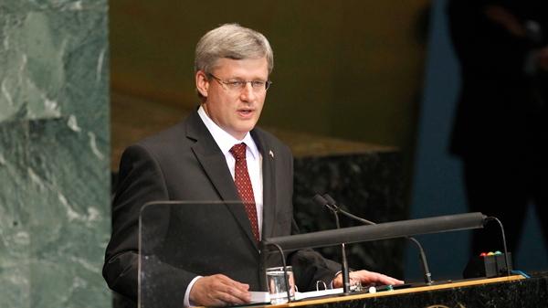 Prime Minister Stephen Harper speaks at United Nations Headquarters, Tuesday, Sept. 21, 2010. (AP / Seth Wenig)