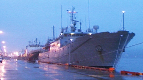 A ship docked in St. John's is lashed with high winds, waves and rain as Hurricane Igor approaches the N.L. coast on Tuesday, Sept. 21, 2010.
