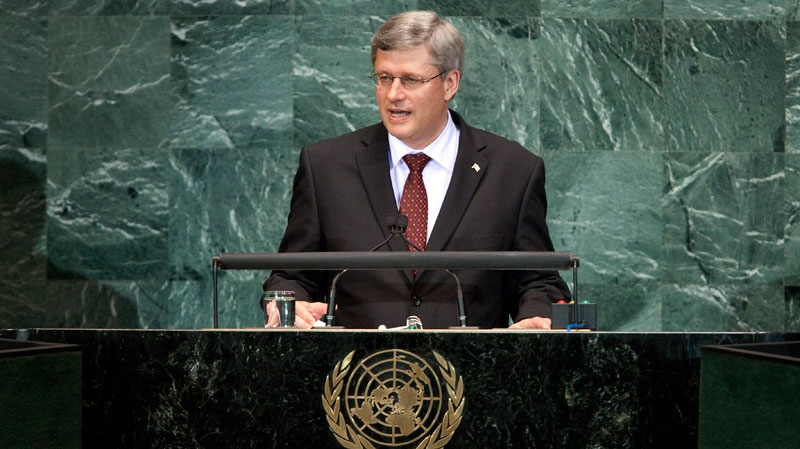 Prime Minister Stephen Harper addresses a summit on the Millennium Development Goals at United Nations headquarters  in New York, Tuesday, September 21, 2010. (Paul Chiasson / THE CANADIAN PRESS)