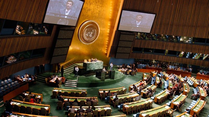 Iranian President Mahmoud Ahmadinejad speaks at a summit on the Millennium Development Goals at United Nations headquarters on Tuesday, Sept. 21, 2010. (AP / Aaron Jackson)