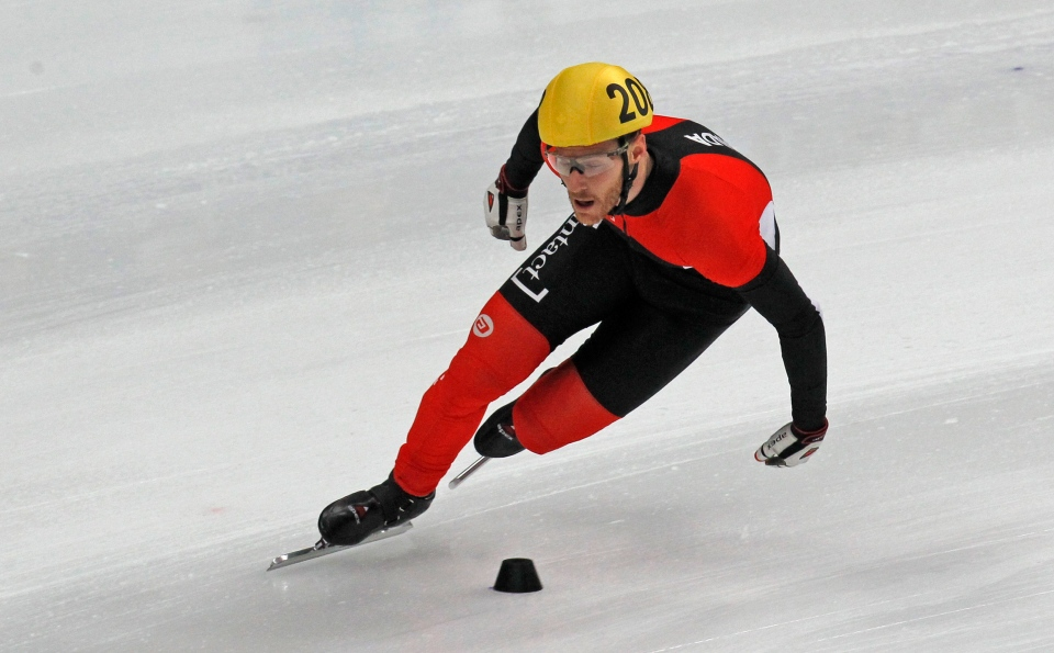 Canada's Olivier Jean seen in action on his finish in the men's 5000m final relay race at the Korean Air ISU World Cup Short Track Speed Skating event in Moscow, Russia, Sunday, Feb. 5, 2012. (AP / Mikhail Metzel)