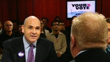 Though Smitherman, left, admitted Ford had 'captured the imagination of the people,' he offered a less drastic approach to spending cuts at city hall than his main political rival during the CP24 debate on Tuesday, Sept. 21, 2010.