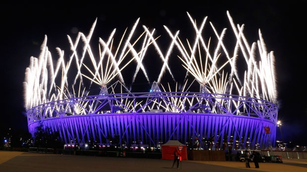 Fireworks explode during the Closing Ceremony of the 2012 Summer Olympics, Monday, Aug. 13, 2012, in London. (AP Photo/Eranga Jayawardena)