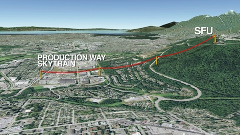 The proposed route for a gondola connecting the Production Way-University SkyTrain station to the SFU campus on Burnaby Mountain. Sept. 22, 2010. (CTV)
