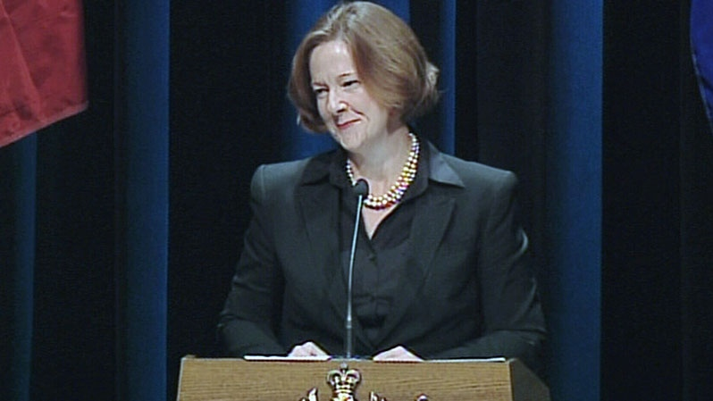 Alberta Premier Alison Redford speaks at the state memorial service for former Alberta premier Peter Lougheed at the Southern Alberta Jubilee Auditorium in Calgary, Friday, Sept. 21, 2012.