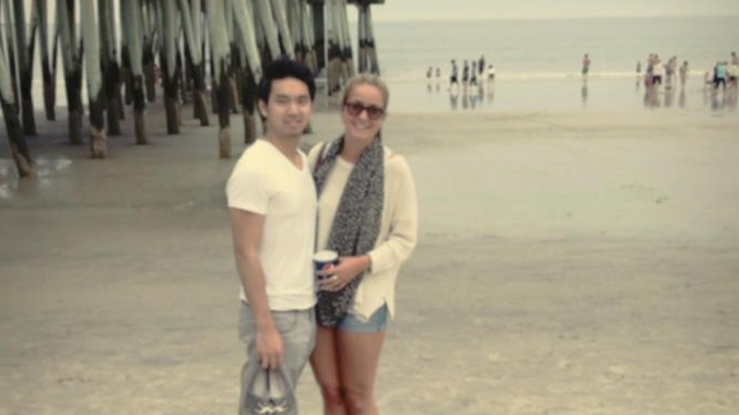 A photo of Ted Shen and Karina Joly.
