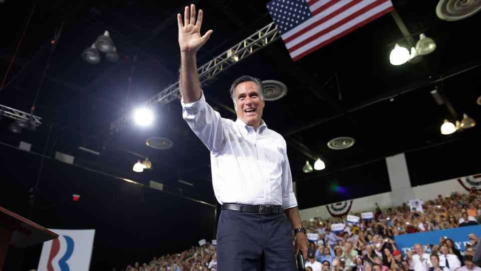 Republican presidential candidate and former Massachusetts Gov. Mitt Romney campaigns in Las Vegas, Friday, Sept. 21, 2012. (AP / Charles Dharapak)