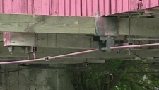 The damaged beam on the West Montrose bridge was reported by a man kayaking. Sept. 21, 2012